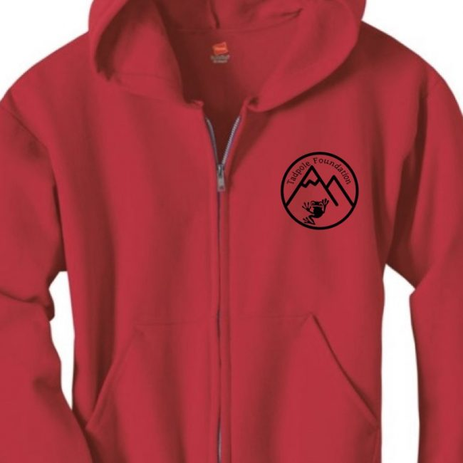 Red Zipper Sweatshirt with Tadpole Logo